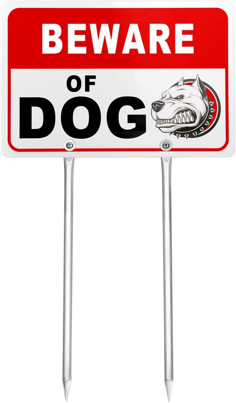 """Kichwit Double Sided Beware of Dog Metal Sign for Yard, Aluminum, All Metal Construction, Sign Measures 11.8"""" x 7.9"""", 14"""" Long Metal Stakes Included"""