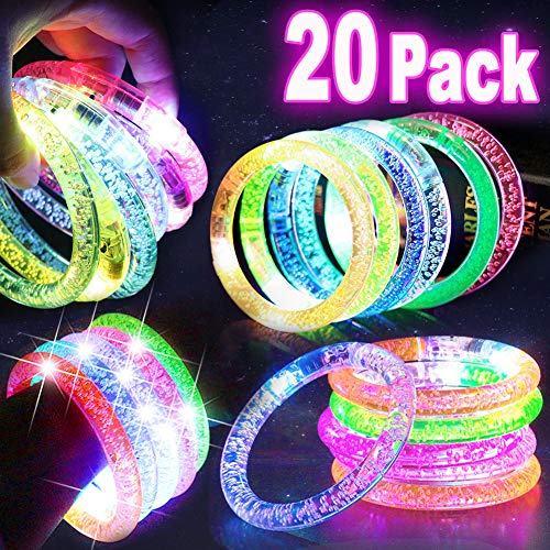 20 PACK LED Bracelets Light Up Toys, Glow in the Dark Supplies Party Favors Prize Box Toys for Classroom Carnival Concert Flashing Bracelet LED Glow Bracelets Party Accessories Games Fun Event