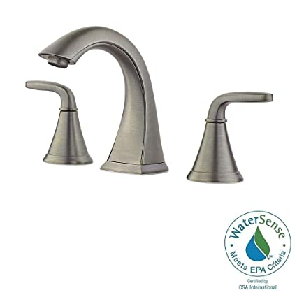 Pfister Pasadena 8 in. Widespread 2-Handle High-Arc Bathroom Faucet in Slate