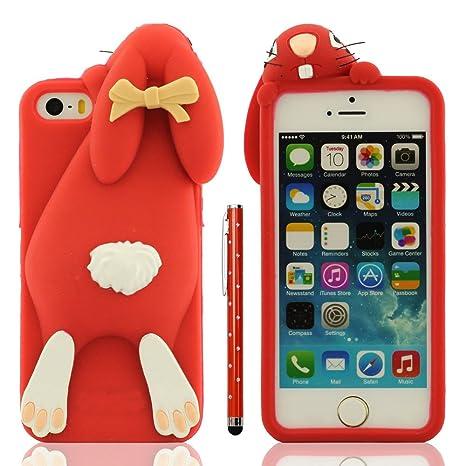 Funda Protectora iPhone SE 5C Anti golpes, Carcasa para Apple iPhone 5 5S Rojo, Muy 3D Animal Estilo Linda Conejo Apariencia Suave Silicona Gel Ajuste ...