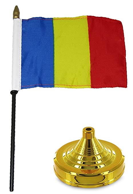 TABLE STICK FLAG CHAD  FLAG DESK SET WITH BASE 4x6 INCHES