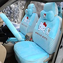 Hello Kitty 18pcs Universal Car Five Seat Covers Car Steering Wheel Cover (Blue)