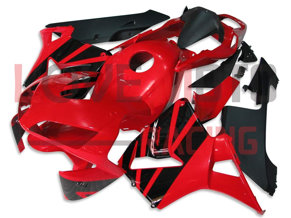 LoveMoto ブルー/イエローフェアリング ホンダ honda CBR600RR F5 2003 2004 03 04 CBR600 RR F5 ABS射出成型プラスチックオートバイフェアリングセットのキット レッド ブラック   B07KCBYWMV