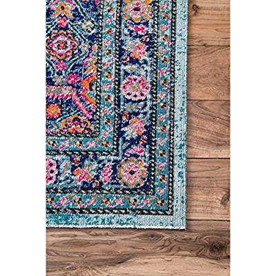 4'x6' Aqua Blue Red Tribal Bohemian Flowers Printed Area Rug, Indoor Floral Pattern Living Room Rectangle Carpet, Damask Jeweled Mandala Themed, Soft Synthetic Paisley Vintage Beautiful Flowers