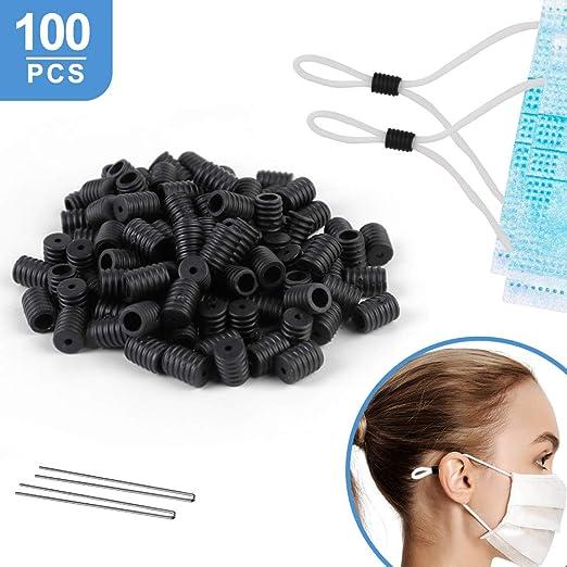 Cord Locks Toggles for Drawstrings Elastic Cord Adjuster for Masks Elastic Mask Adjustment Buckle Non Slip Stopper 100pcs Clear