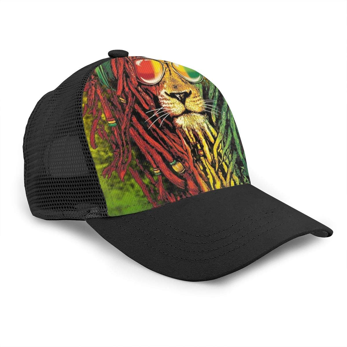 Solid Hip Hop Cap for Unisex Mens and Womens Lion with Dreadlocks Flat Baseball Hat