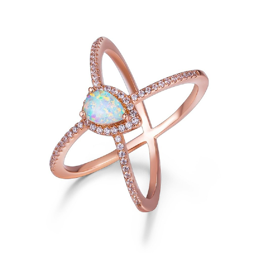 OPALBEST Criss Cross Rose Gold Plated Ring with White Pear Shaped Opal Ring (7)