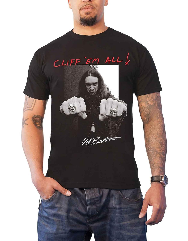 Amazon.com: Metallica T Shirt Cliff Burton Fists Cliff Em All Official Mens Black: Clothing