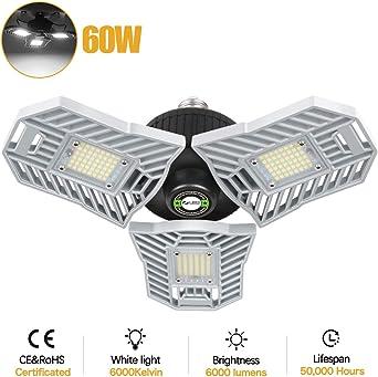 LED Garagenleuchte E27 60W Garage Licht Bewegungssensor 360 Grad LED Werkstattlampe Garagenleuchte 6000 LM mit 3 verstellbaren Panels f/ür Garage Werkstatt Lager Keller