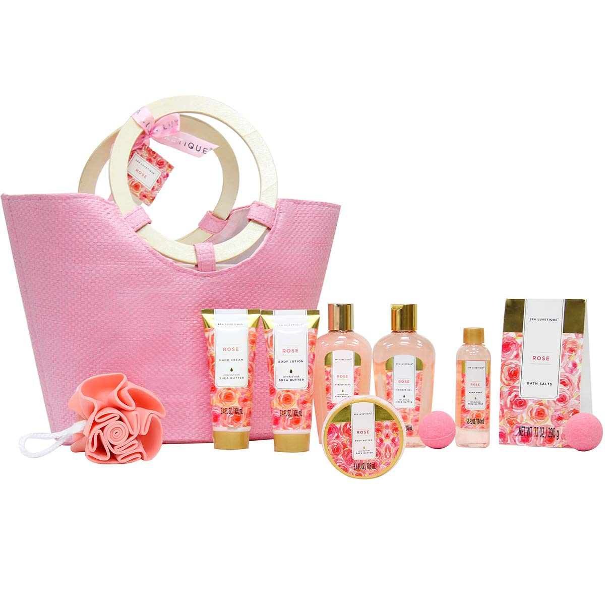 Spa Luxetique Rose Spa Gift Baskets for Women, Premium 10pc Gift Baskets, Best Holiday Gift Set for Women - Deluxe Spa Tote Bag with Wooden Handle, Bath Salt, Hand Soap, Shower Gel and Moe!