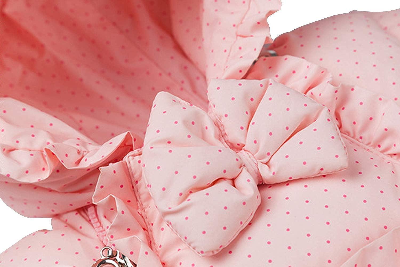 Ding-dong Baby Girl Winter Hooded Dot Bowknot Puffer Pram Snowsuit (Yellow,6-9M)