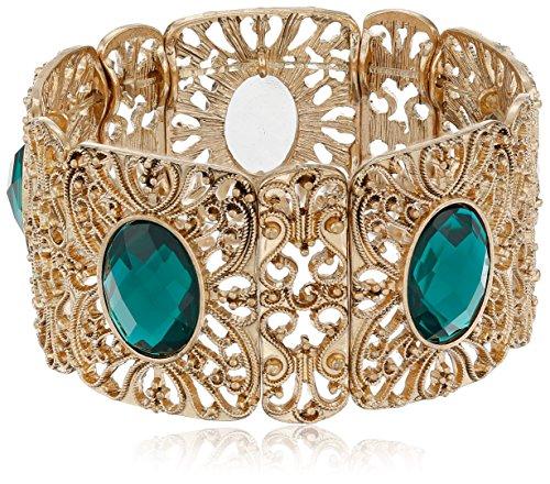 (1928 Jewelry Gold-Tone Emerald Green Color Wide Filigree Stretch Bracelet)