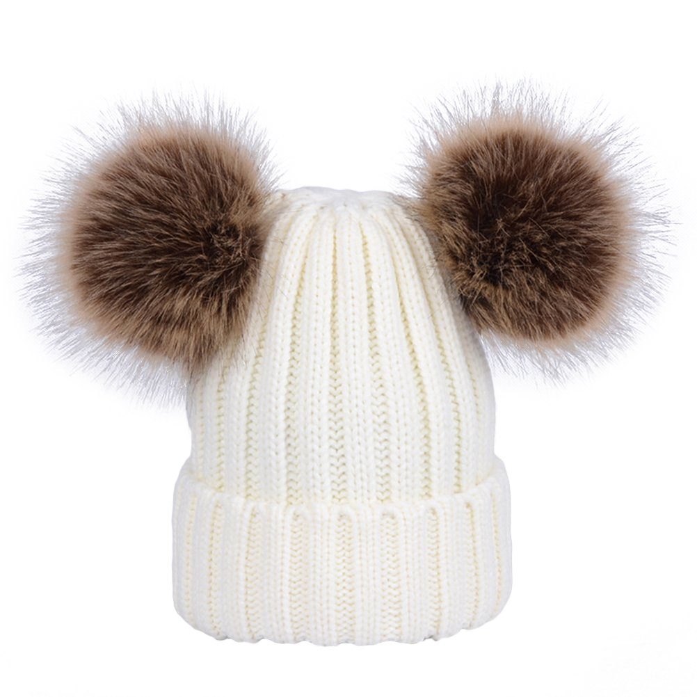 YeahiBaby Baby Point Warm Winter Hat with Soft Balls for 0-6 years 29-57cm white