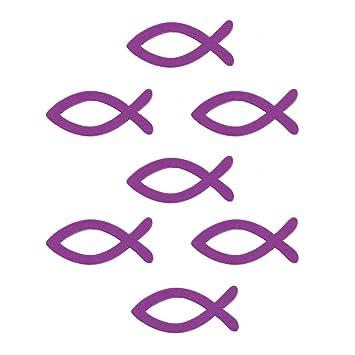 18 Holz Fische Streuartikel Taufe Kommunion Streudeko Tischdeko Verzierung Lila