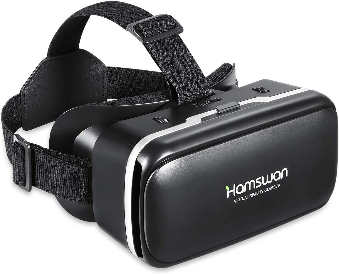 Gafas VR, [Regalos de San Valentín] HAMSWAN Gafas de Realidad Virtual, 3D VR, VR Glasses Visión Panorámico 110 Grado Película 3D Juego Immersivo para Móviles 4.7-6.0 Pulgada