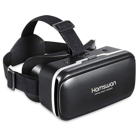 HAMSWAN Gafas 3D VR, Glasses Visión Panorámico 110 Grado Película 3D Juego Immersivo para Móviles 4.7-6.0 Pulgada