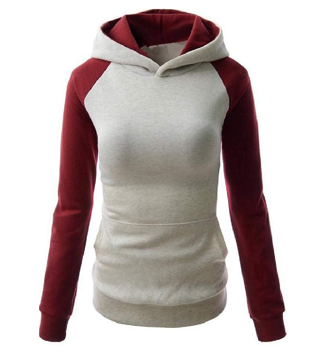 YUNY Womens Fashion Slim Fit Workout Raglan Hit Color Hooded Pullover Light Grey L