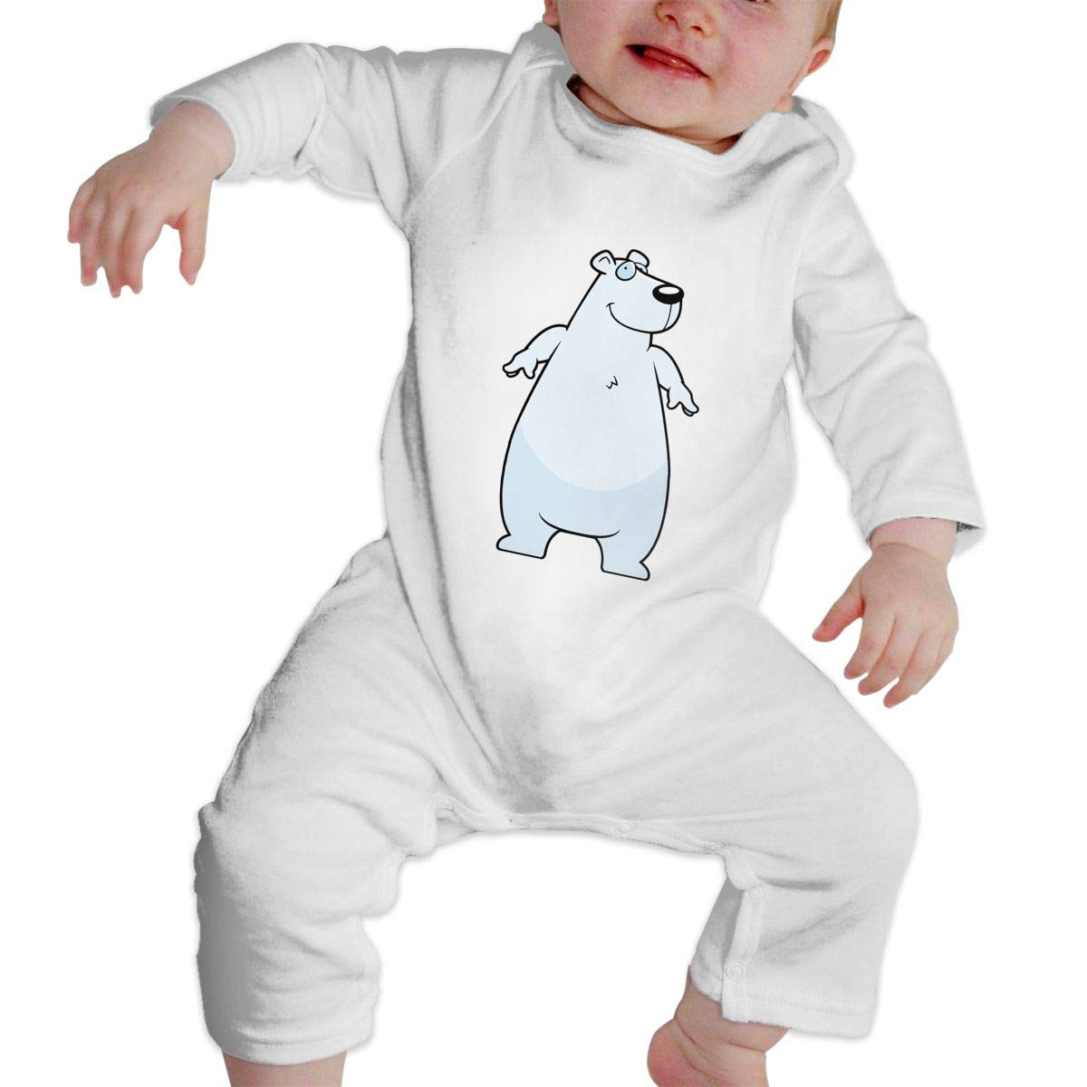Infant Baby Boys Girls Cotton Long Sleeve White Polar Chubby Bear Jumpsuit Romper Funny Printed Romper Clothes