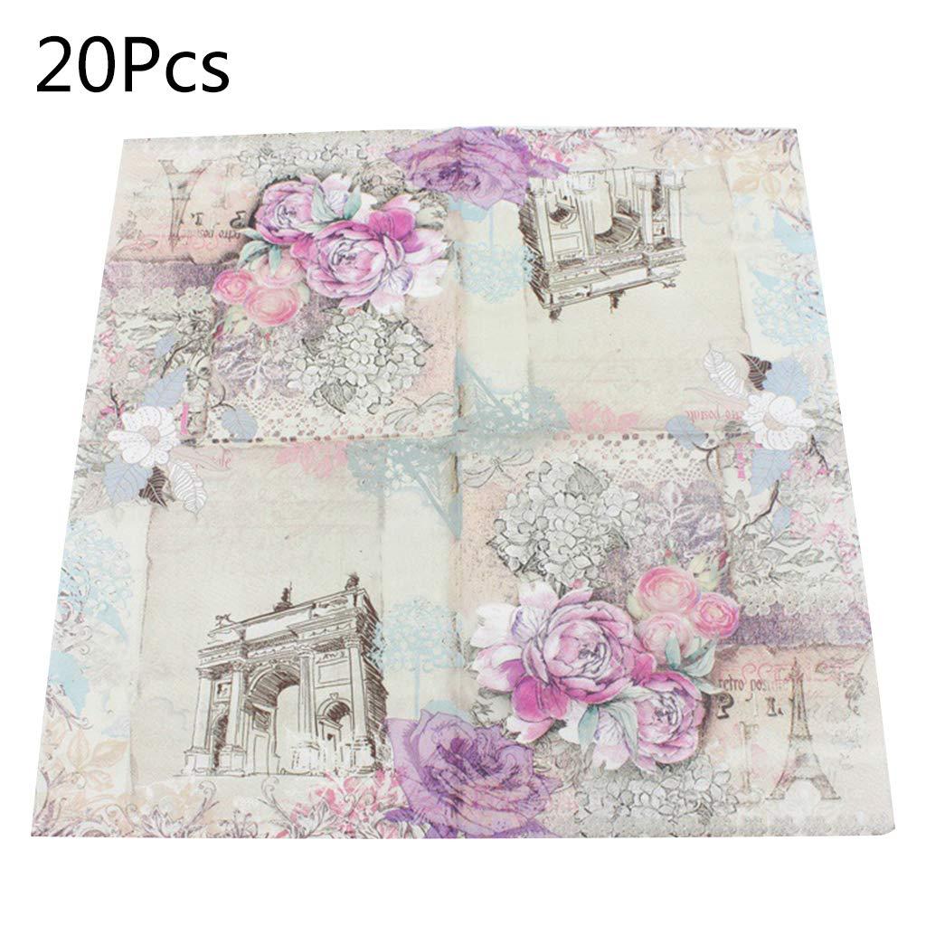 stampati Shaoyanger quadrati 20 tovaglioli di carta usa e getta per feste e celebrazioni motivo floreale