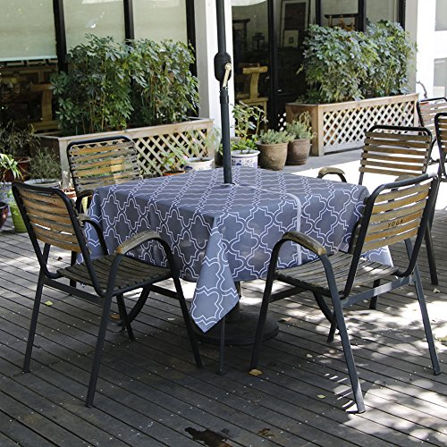 Sobibo Heavyweight Wrinkle-Free Stain Resistant Waterproof Outdoor Tablecloth With Umbrella Hole and Zipper,60-Inch-by-84 Rectangle, Grey, Seats 6 to 8 (Square Table Seats 8)