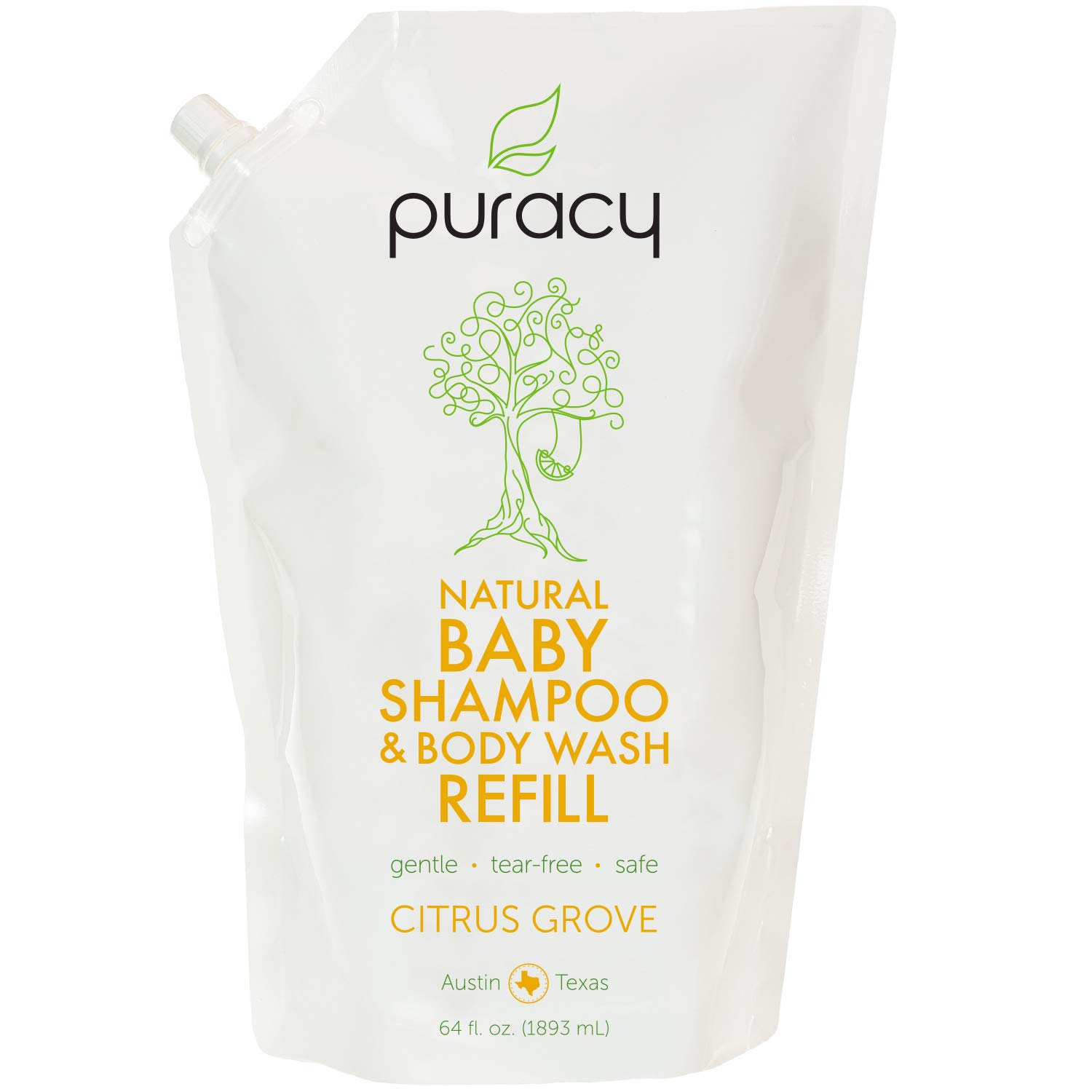 Puracy Natural Baby Shampoo & Body Wash Refill, Tear-Free Hypoallergenic Bath Soap, 64 Ounce by Puracy