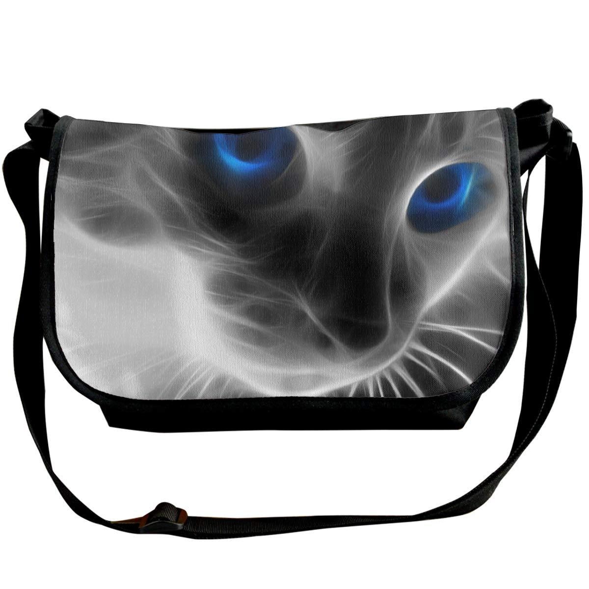 Taslilye Animal Cat Blue Eyes Customized Wide Crossbody Shoulder Bag For Men And Women For Daily Work Or Travel