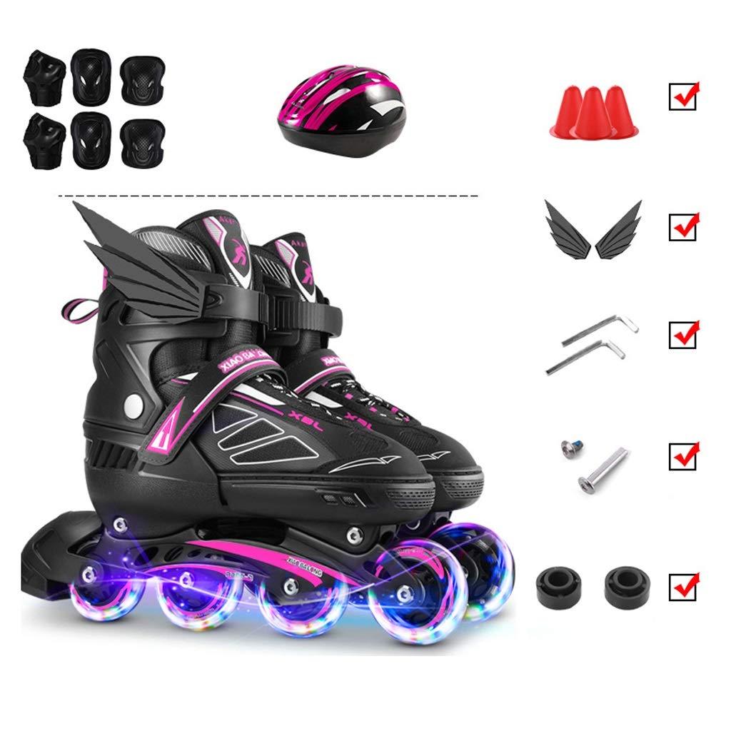TKW アウトドアスケート、男女用4輪ローラースケート、キッズ男の子と女の子プロのインラインスケートセット、(黒) (Color : C, Size : M(EU35-38)) C M(EU35-38)