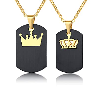 d293714238 Couple Necklace Crown Tag 2PCS His & Hers Queen King Stainless Steel  Pendant Matching Set for Love Valentine Gift: Amazon.ca: Jewelry