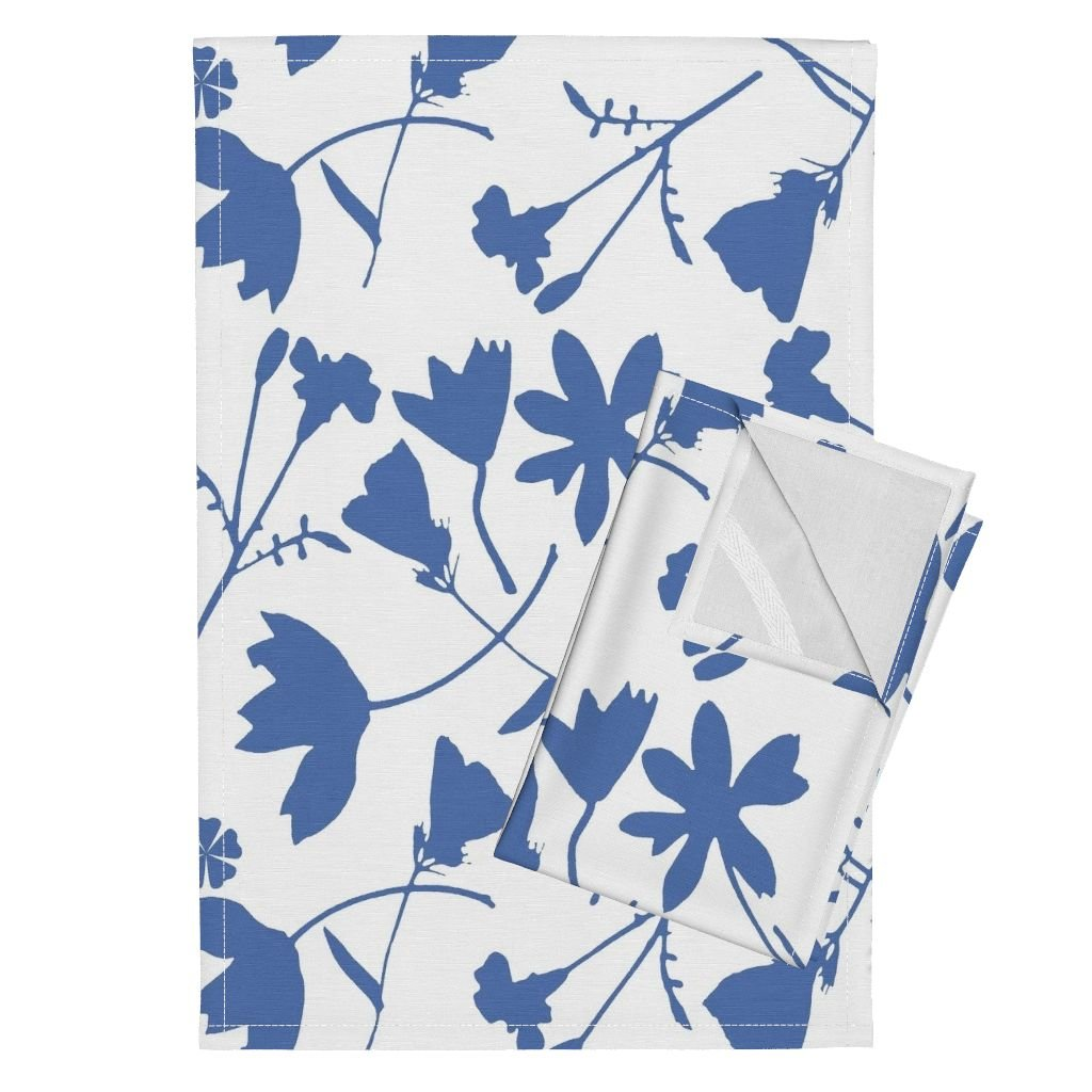 Roostery French Country Tea Towels French Country Blue by Mypetalpress Set of 2 Linen Cotton Tea Towels