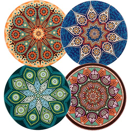 Ceramic Coasters Absorbent for Drinks, 4 Pack (Mandala and Bohemia Style)