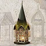 Glass and Metal Architectural Candle Lantern - Green Patina Pickford House by Echo Valley
