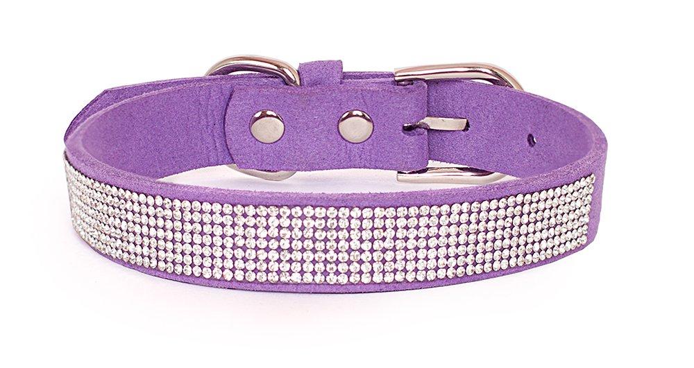 Reopet Bling Rhinestone Dog Collar - Sparkly Diamond Studded Small & Medium Dog & Kitty Collar - 1.0''15-18.5'' - Purple