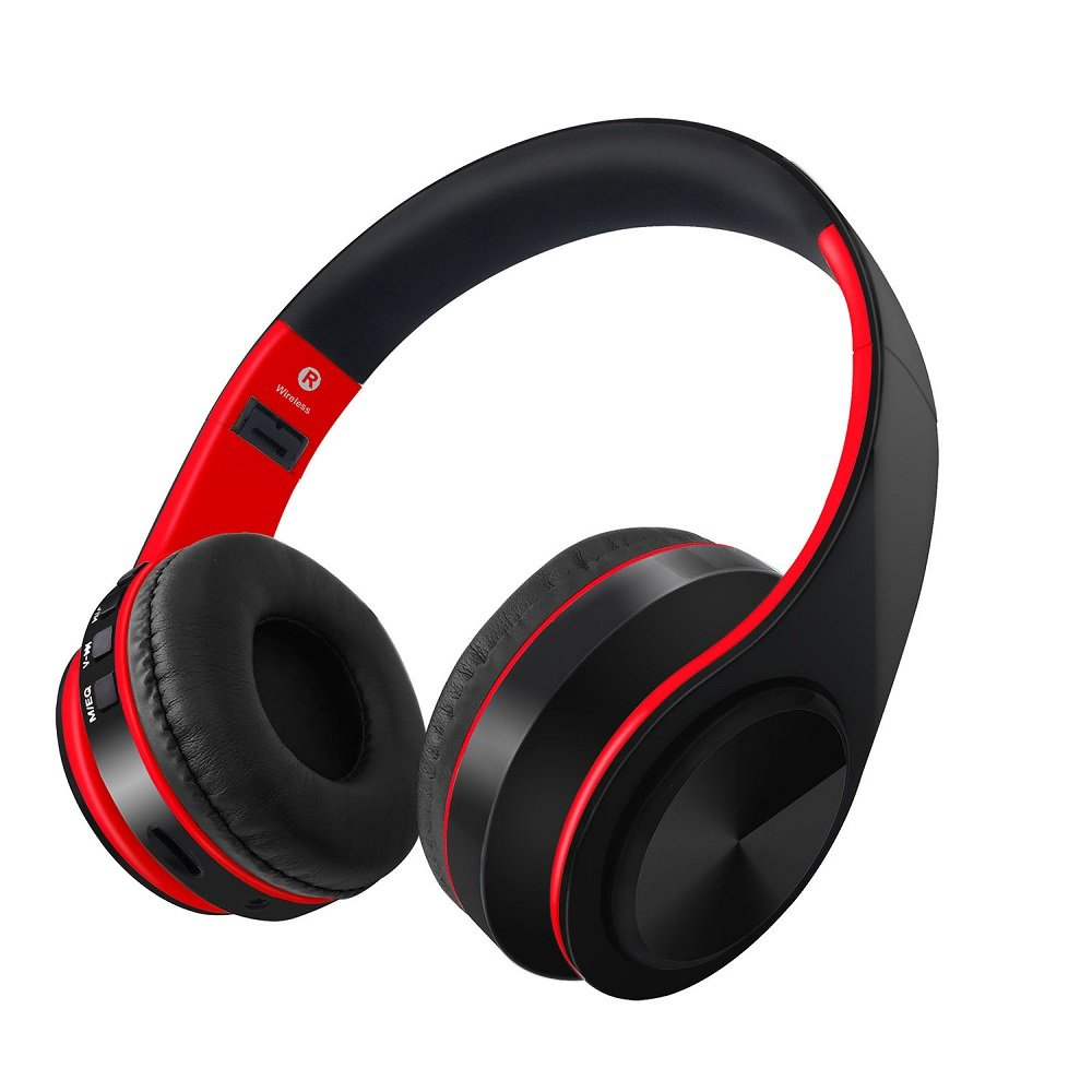 Gerleek Over Ear Bluetooth Headphone With Mic Workout 40mm Driver Foldable HIFI Wireless Headset PC/ Cell Phones/TV Travel Kids (Black-Red)
