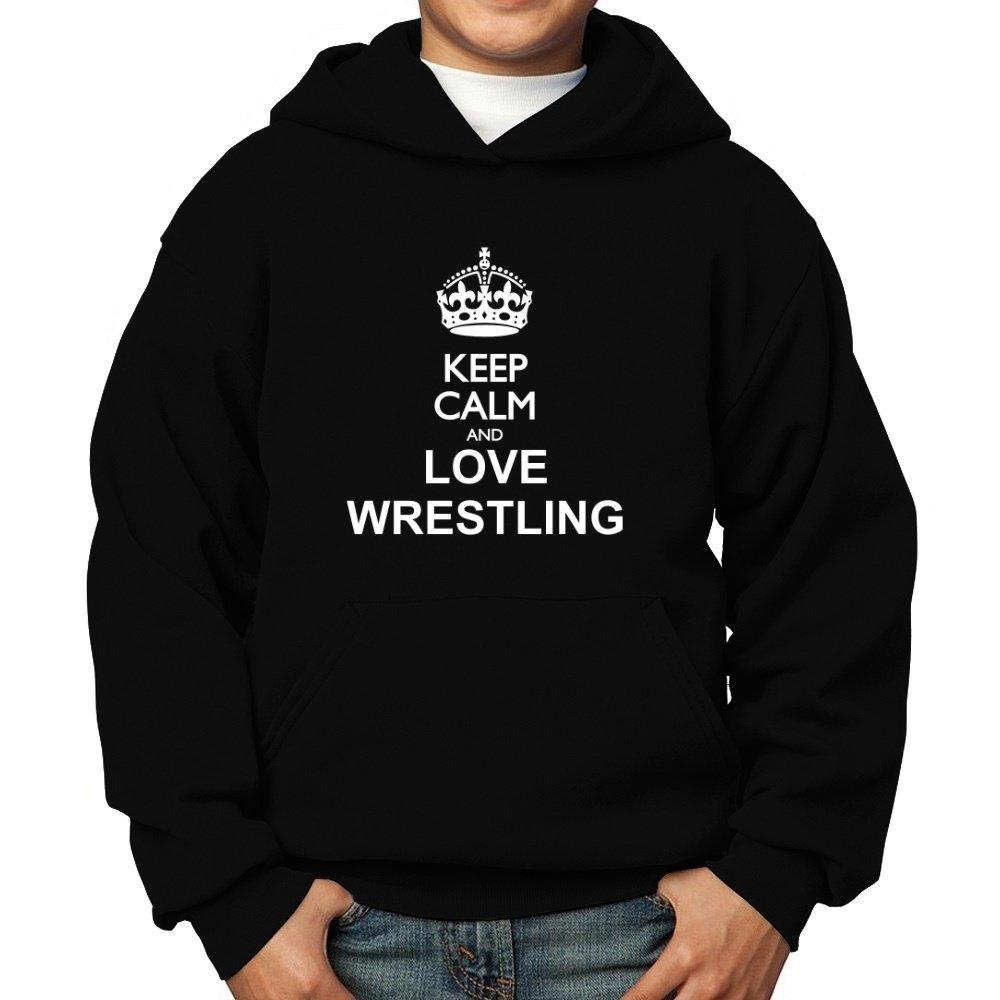 Teeburon Keep Calm and Love Wrestling Boy Hoodie