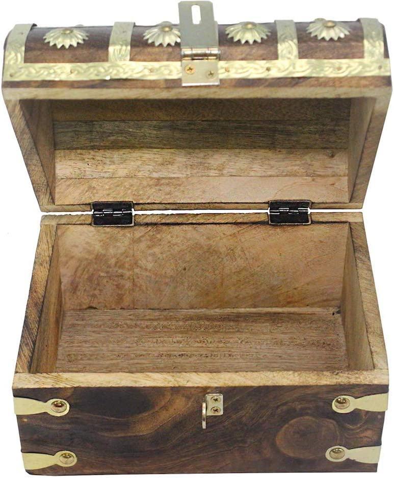 WellPackBox 8x6x5.5 Wooden Pirate Treasure Chest Box With Antique Style Lock And Skeleton Key X-Small