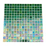 URBN Contemporary Emerald Green Iridescent Glass Mosaic Tile for Kitchen and Bath - Single Sheet (13 inches x 13 inches, 1.15 SQ FT)