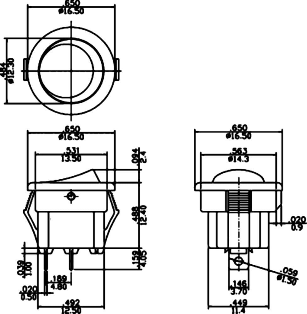 Negro C10708 Interruptor conmutador basculantes de boton SPST ON-OFF 3A//250V 2 posiciones 15mm AERZETIX