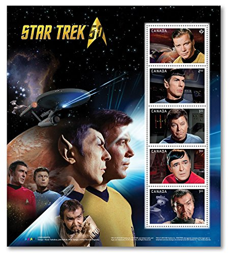 Star Trek 50th Anniversary Pane of 5 - Captain Kirk, Spock, Scotty, Doctor Leonard