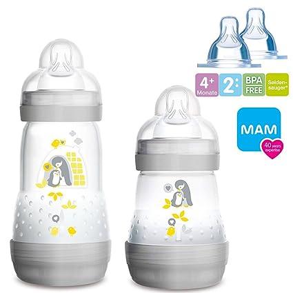 Biberón anticólicos de MAM; 160 y 260 ml, incluye boquilla tallas 1 y 2, mezcla para niño, 2 unidades