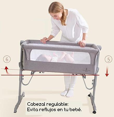 Minicuna Colecho Ibaby 2020 - Regulable Multialturas. Reclinable - Colchón incluido. Color Gris