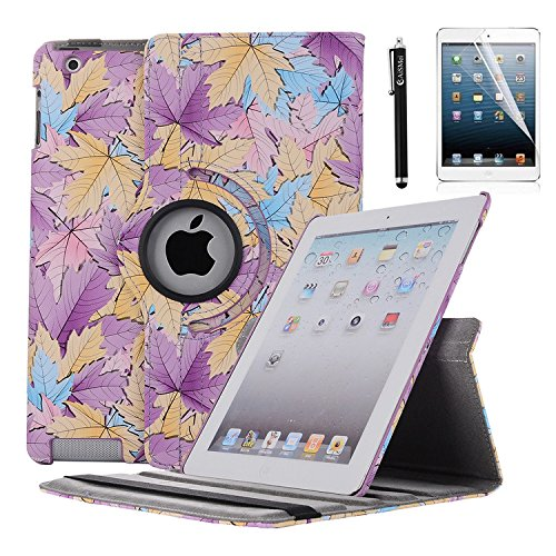 AiSMei Case for iPad 4 (2012), Rotating Stand Case Cover for Apple 9.7 iPad A1395, A1396, A1397, A1403, A1416, A1430, A1458, A1459, A1460, Bonus Stylus + Film, Purple Maple Leaves