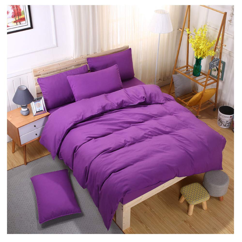Dark Purple King,87''x94'' ORIHOME Bedding Set Twin Full Queen King Simple Solid color - 3 4 Piece Bedding Sets - Teen Bedding for Men Women Bedroom (Without Quilts) ZL (Pink, King,87''x94'')