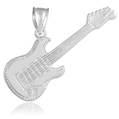 Amazon solid 14k white gold music charm electric guitar pendant solid 14k white gold music charm electric guitar pendant aloadofball Choice Image