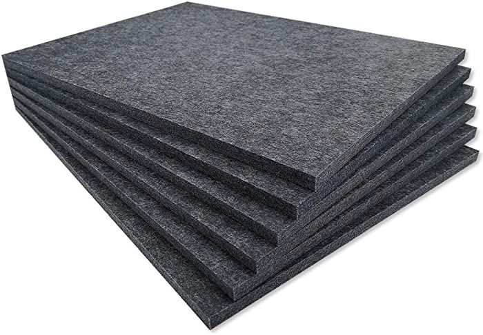 TroyStudio Acoustic Panel - 800 x 600 x 12mm 6 Pack Dense Thick Soundproofing and Sound Absorbing Panel, Wall and Ceiling Acoustical Treatment Felt tiles for Home Theater, Recording Studio, Office