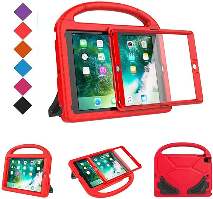 BMOUO Kids Case for New iPad 9.7 2018/2017 - Built-in Screen Protector Shockproof Light Weight Handle Convertible Stand Case Cover for Apple iPad 9.7 Inch 2018 (6th Generation) / 2017 (5th Gen) - Red
