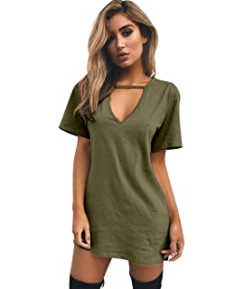 ISSHE Robe Tee Shirt Manche Courte Femme Ete T Shirt Long Col V Femme T  Shirts 7f4f69220432