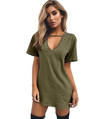 18c041469a77b ISSHE Robe Tee Shirt Manche Courte Femme Ete T Shirt Long Col V Femme T  Shirts ...