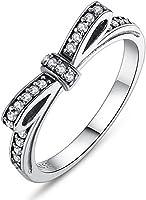 Buyanputra Vintage Bowknot Rhinestone Rings Women Engagement Finger Decor Rings