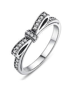 Buyanputra Vintage Bowknot Rhinestone Rings Women Engagement Finger Decor Rings size 7