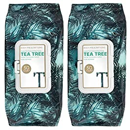Body Prescriptions 2 Pack (50 Count Each) Tea Tree Facial Cleansing and Gentle Make Up Remover Wipes – Flip Top Pack